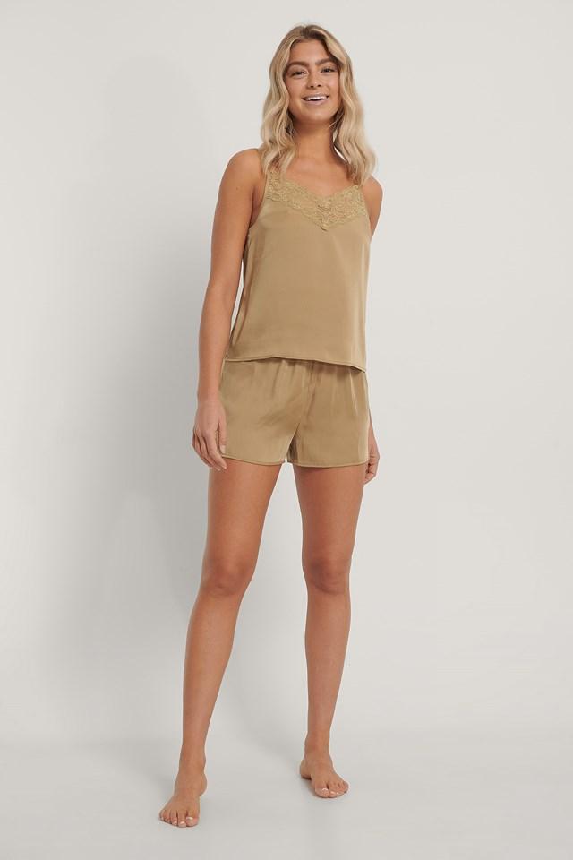 Olive Lace Edge Night Satin Shorts