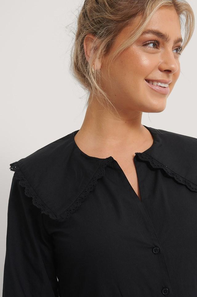 Embroidery Collar Shirt Black