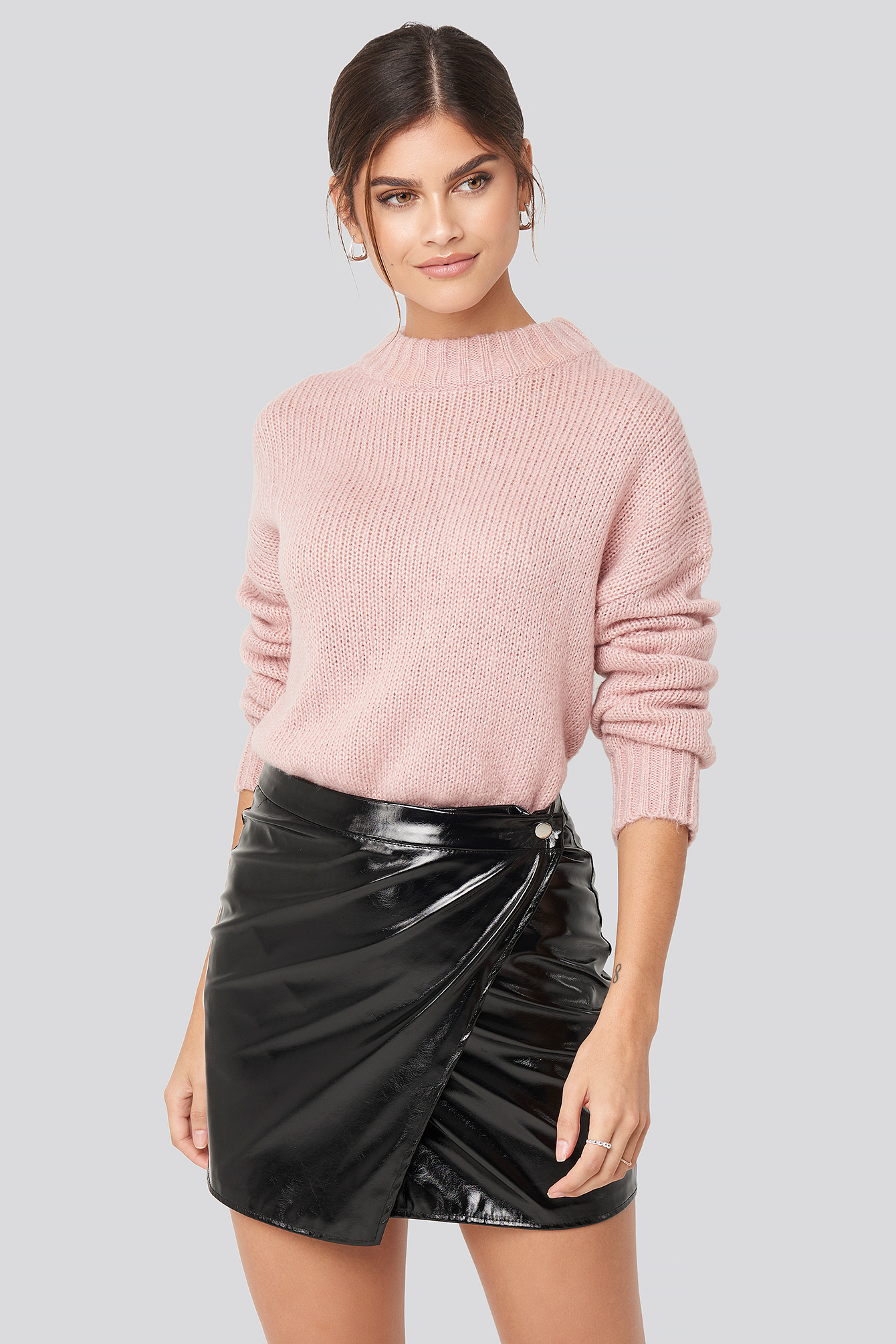 Black Patent Overlap  Mini Skirt