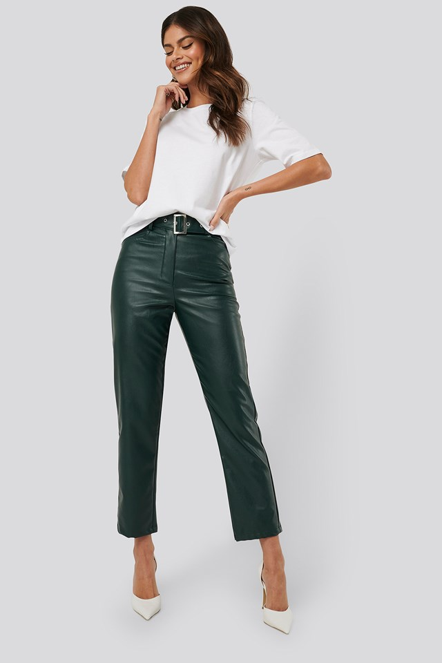 Emerald Belted Pu Leather Pants