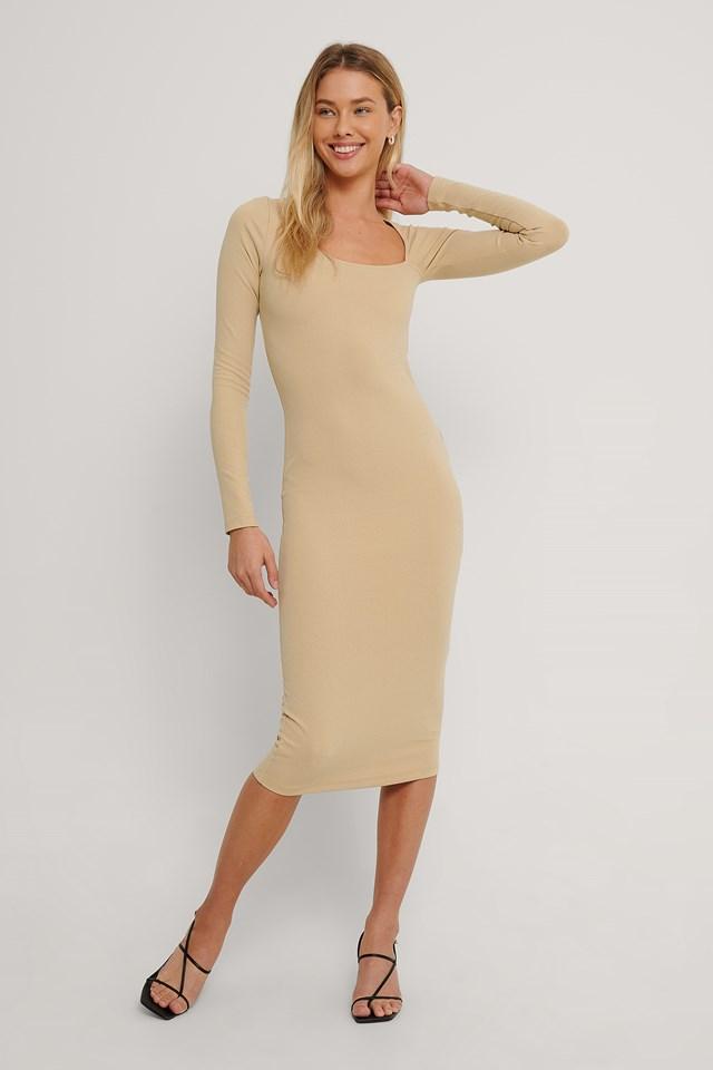 Cut Detail Long Sleeve Dress Beige