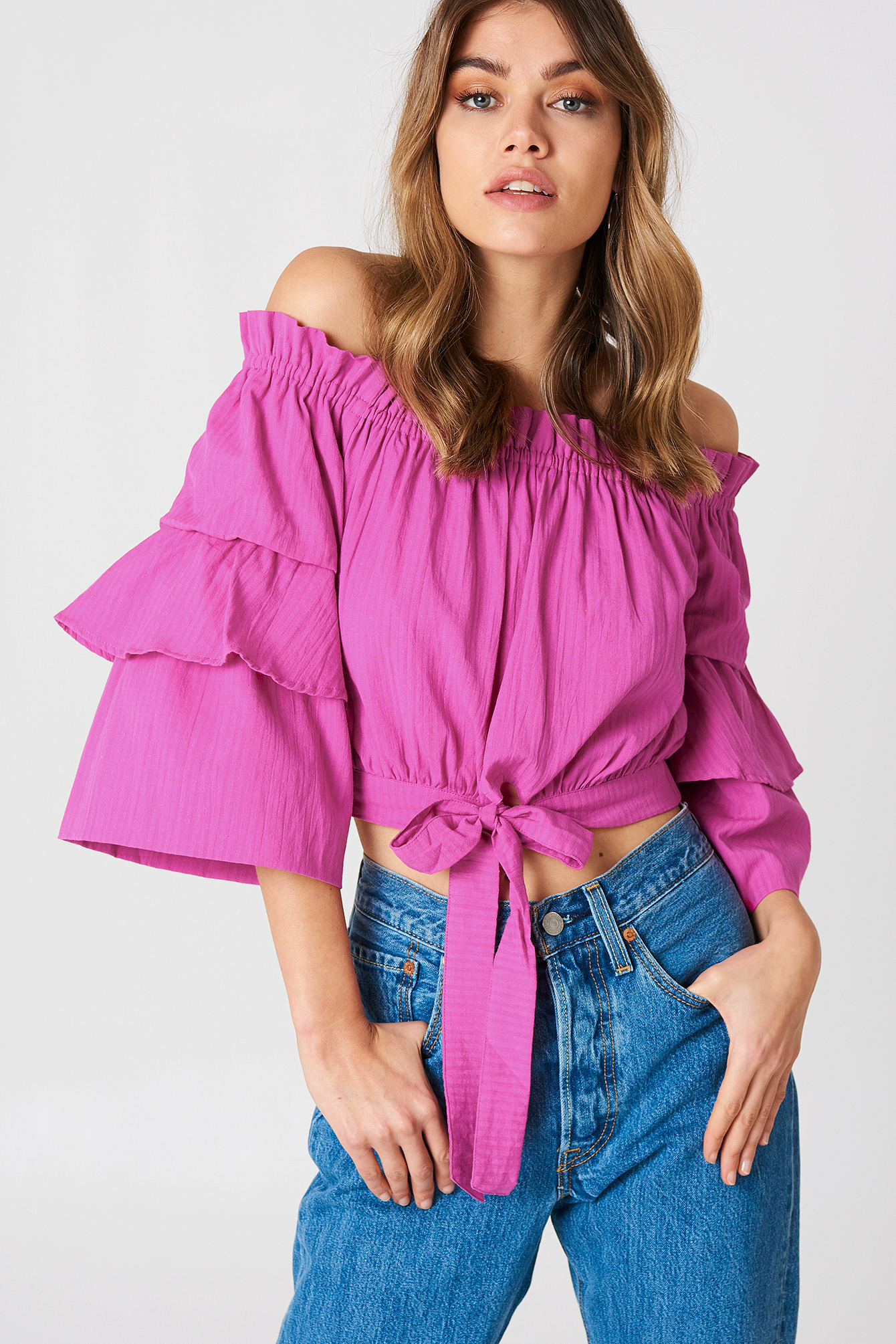 Strong Pink Off Shoulder Frill Sleeve Top