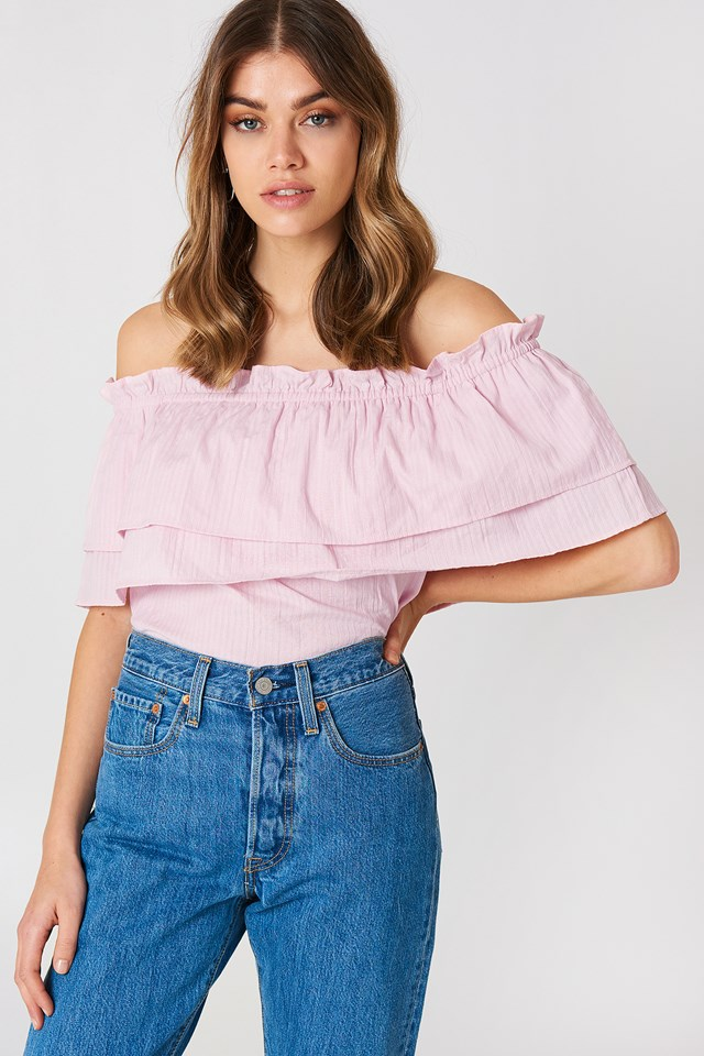 Off Shoulder Layared Top Light Pink