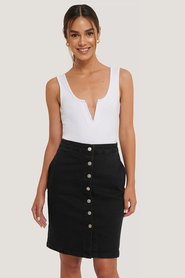 Button Front Denim Midi Skirt Black