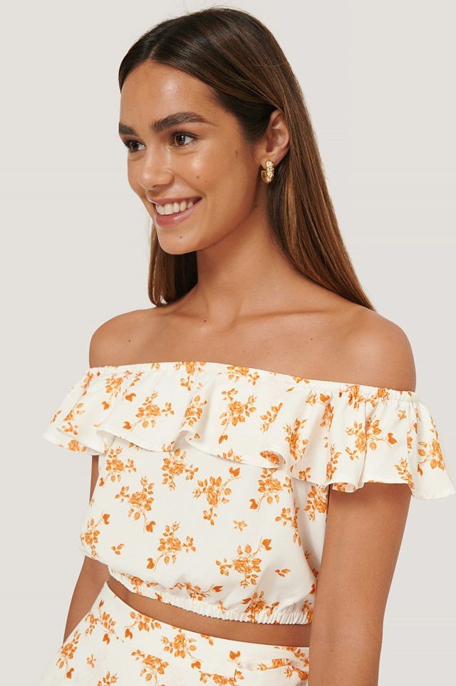 Off Shoulder Crop Top Flower Print