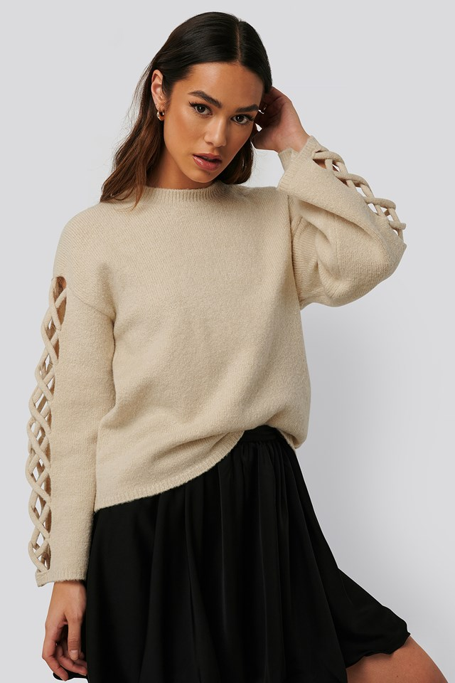 Sleeve Detail Roundneck Knit White