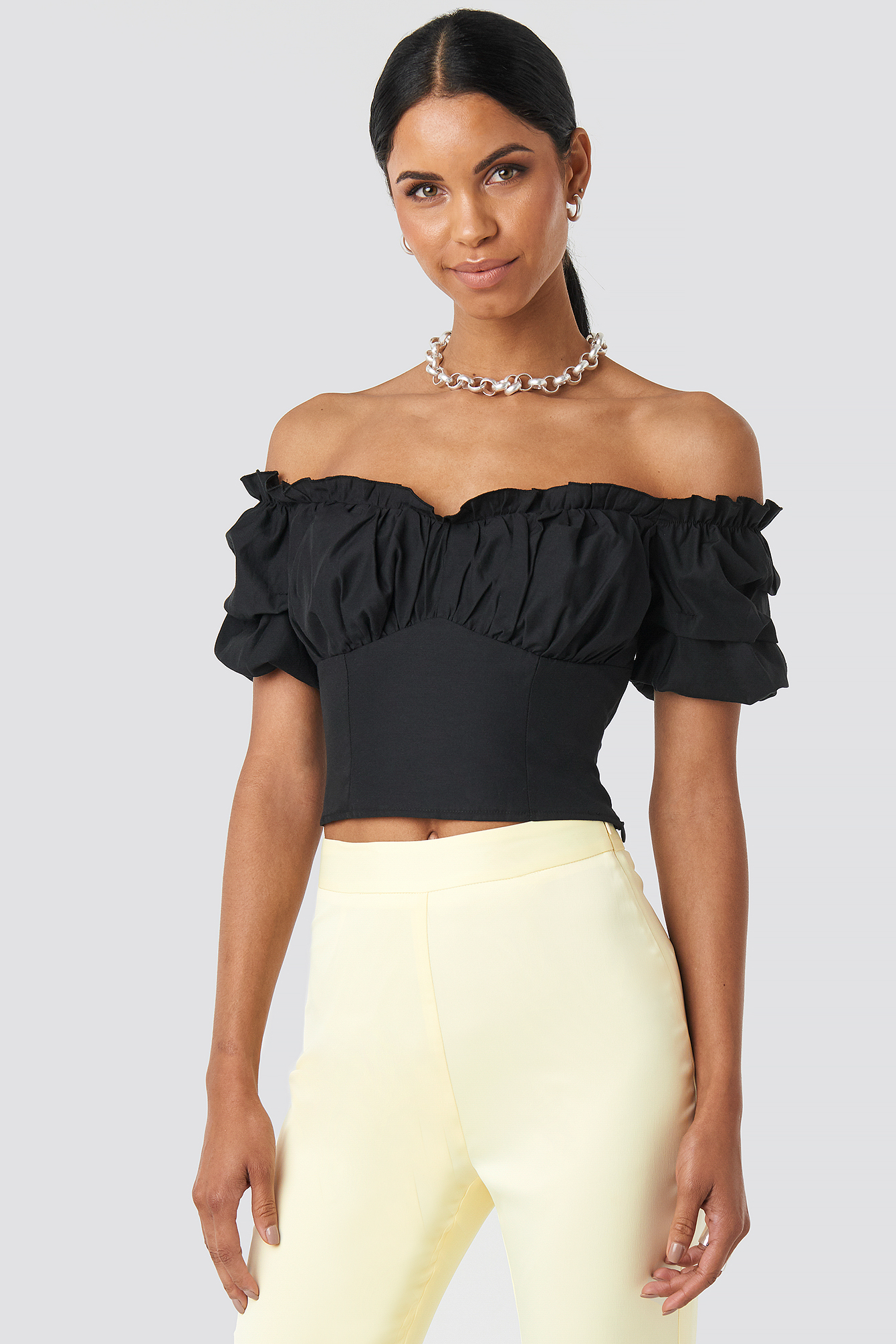 Black Off Shoulder Ruffle Cup Cropped Blouse