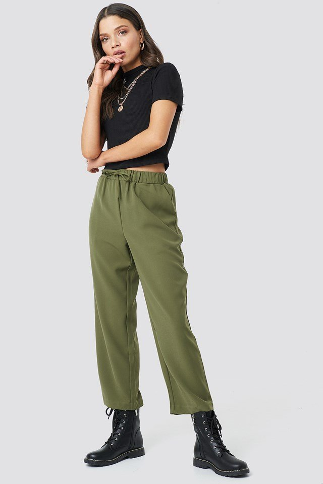 Olive Drawstring Suit Pants