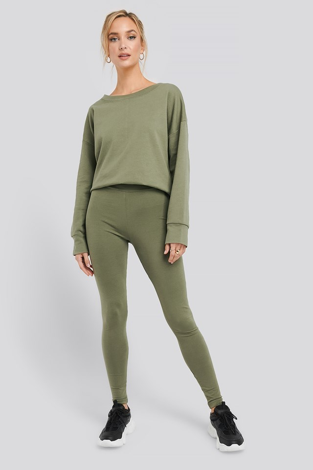 Basic Highwaist Leggings Khaki