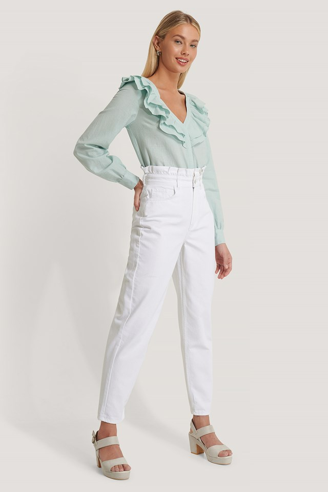 High Waist Front Pockets Denim White