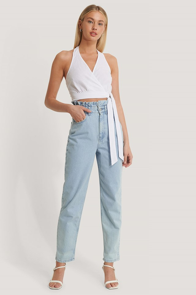 High Waist Front Pockets Denim Light Blue