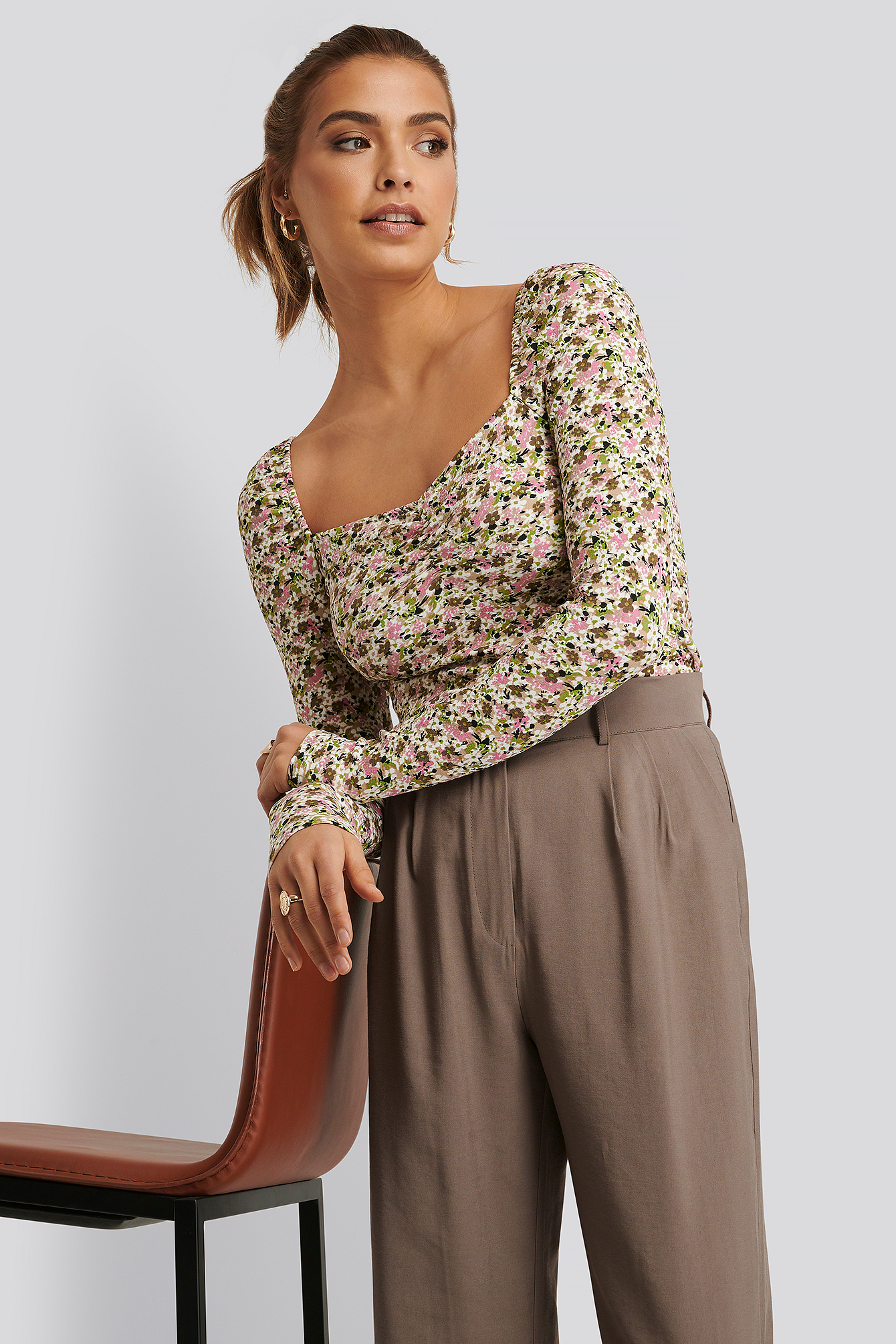 Print Ruched Long Sleeve Top