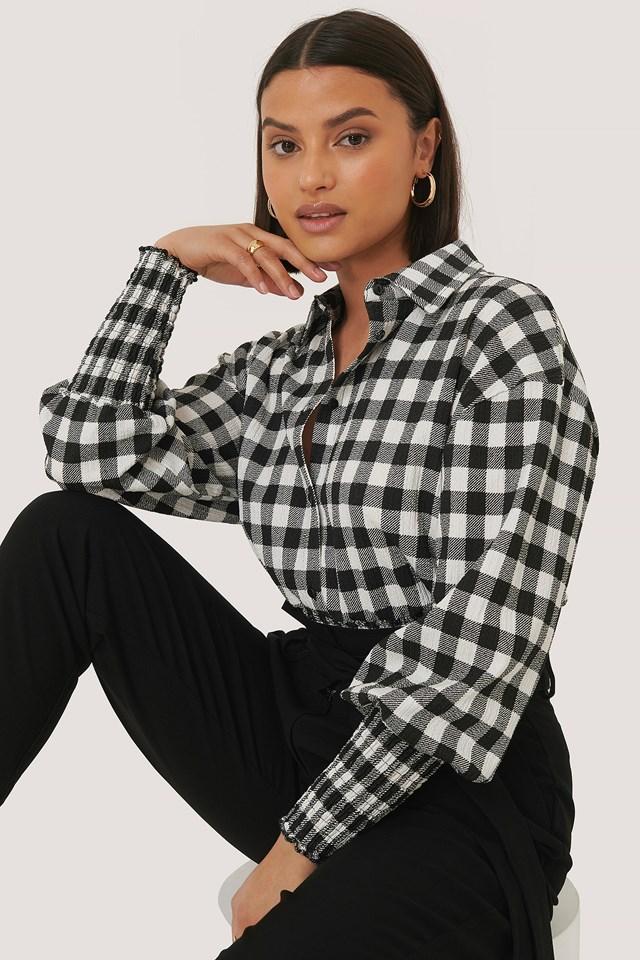 Checked Long Sleeve Blouse Black/White