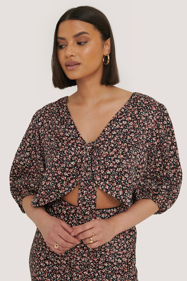 Puff Sleeve Front Bow Top Print