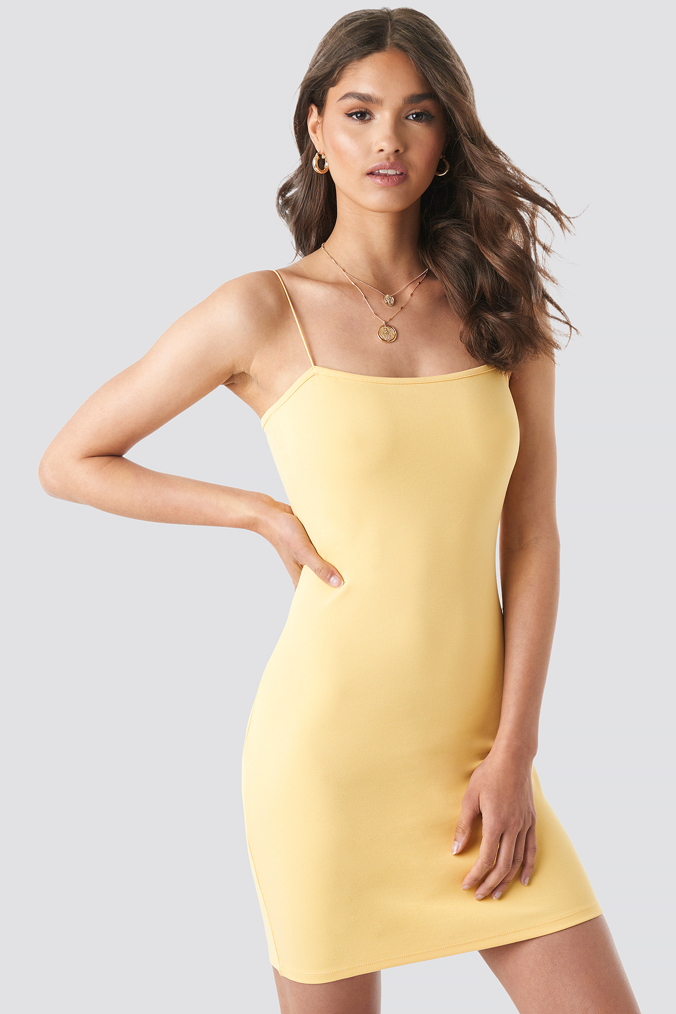 Yellow Basic Bodycon Dress