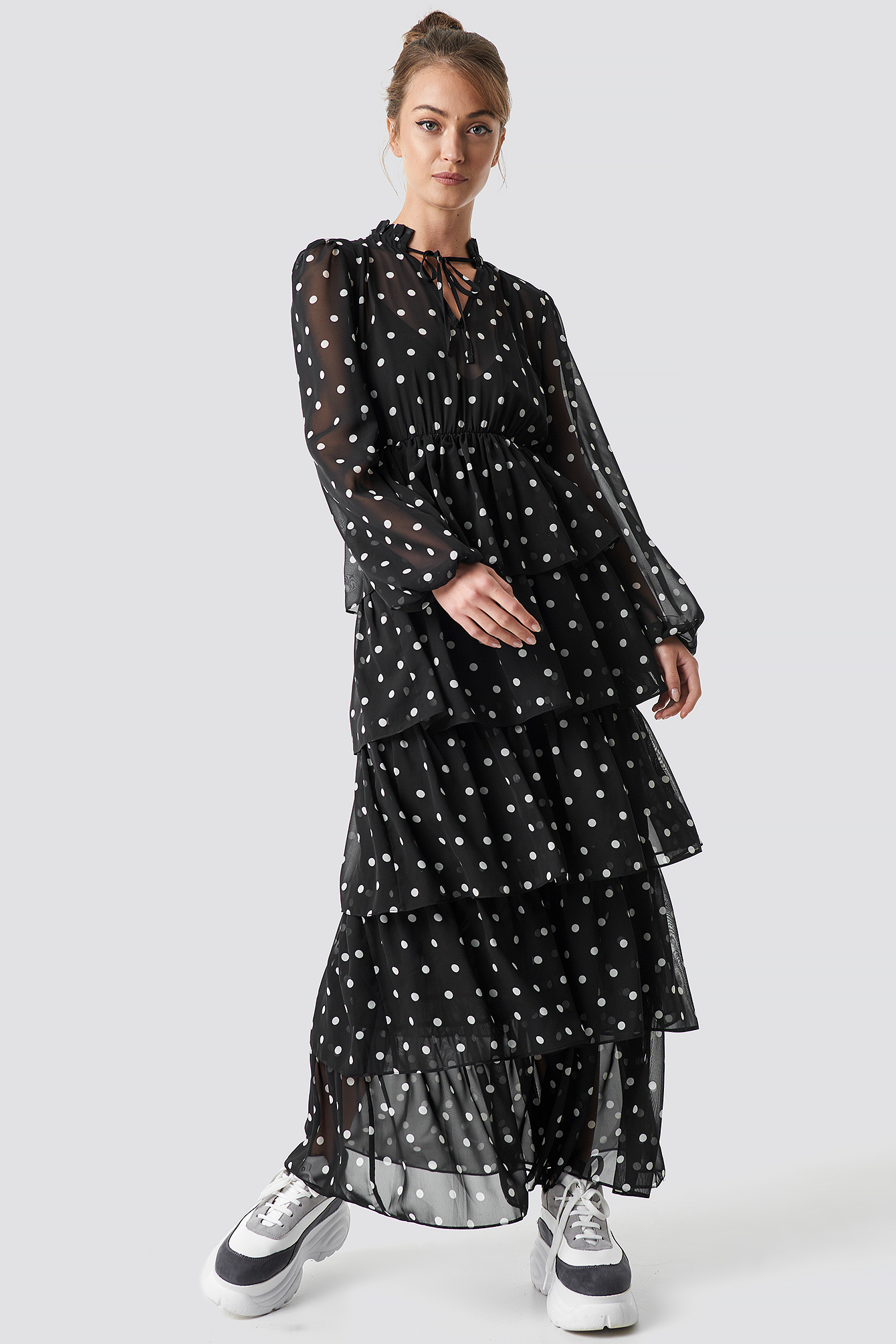 Dots Dotted Frilled Maxi Dress