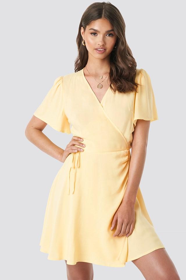 Wrap Mini Dress Yellow