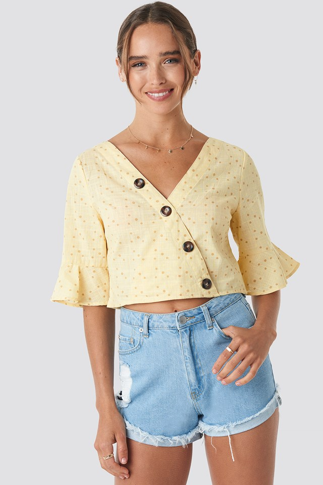 Buttoned Wrap Top Yellow