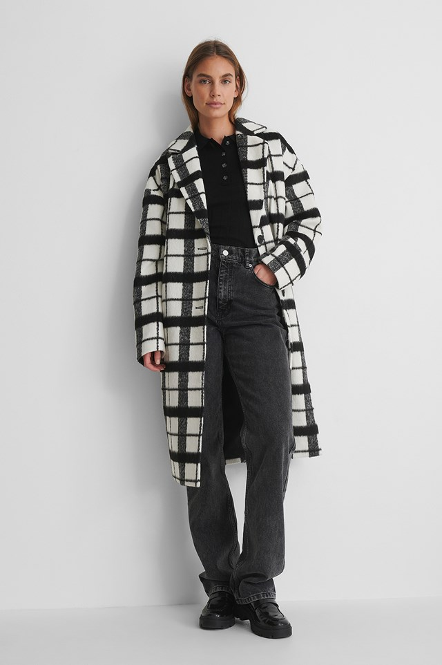 Black/White Checked Dropped Shoulder Coat
