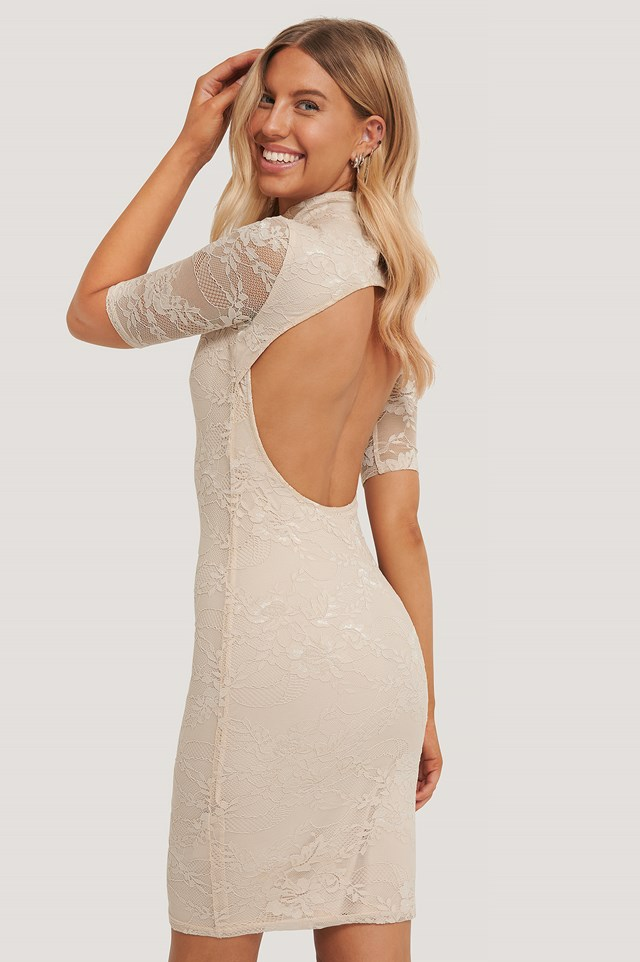 Open Back Lace Dress Beige