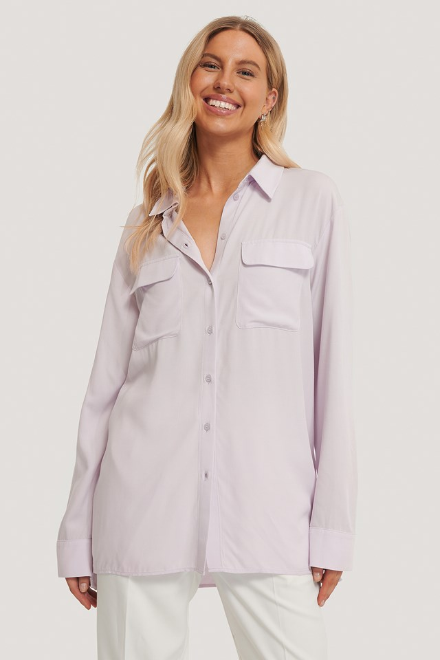 Oversized Front Pocket Shirt Purple