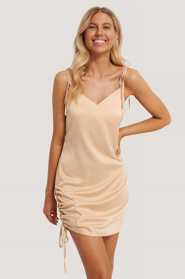 Satin Drawstring Mini Dress Sand