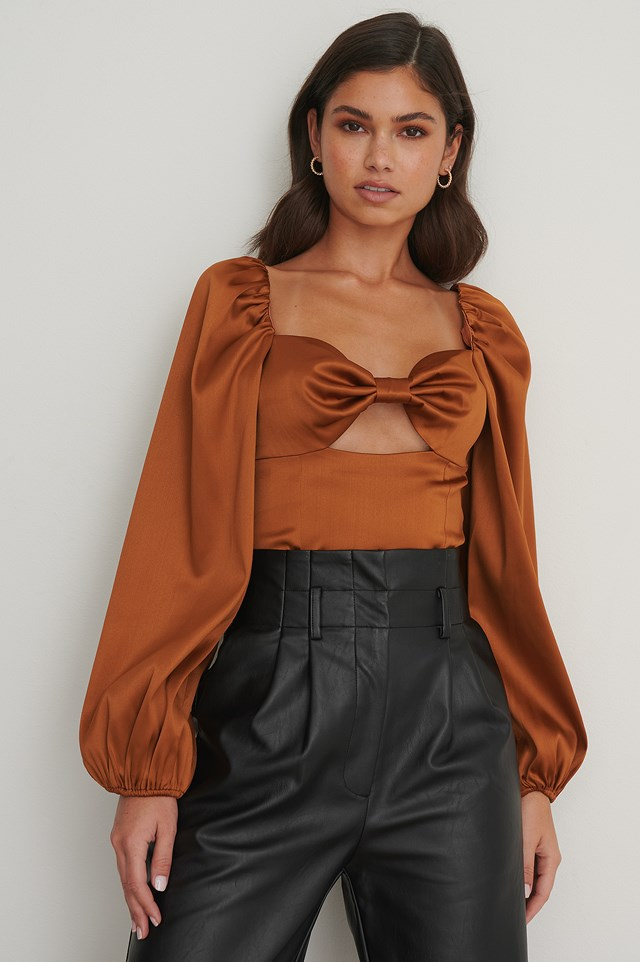 Balloon Sleeve Cut Out Top Brown