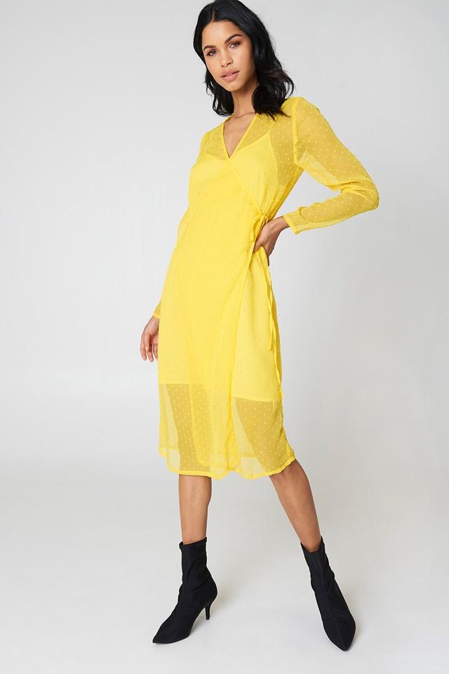 Swiss Dot Wrap Dress Yellow