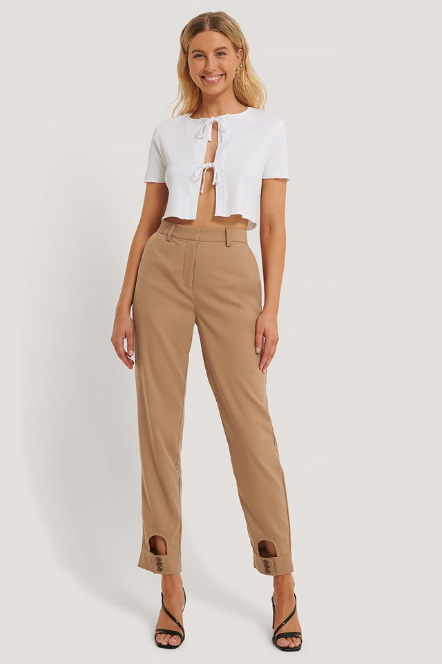Cut Out Detail Suit Pants Brown