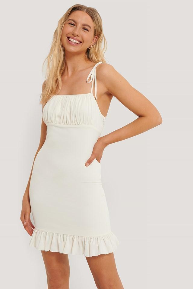 Frill Detail Dress Light Beige