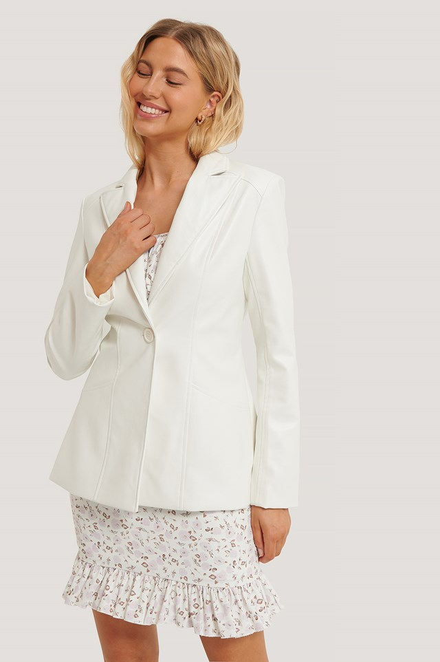 PU Detail Blazer White