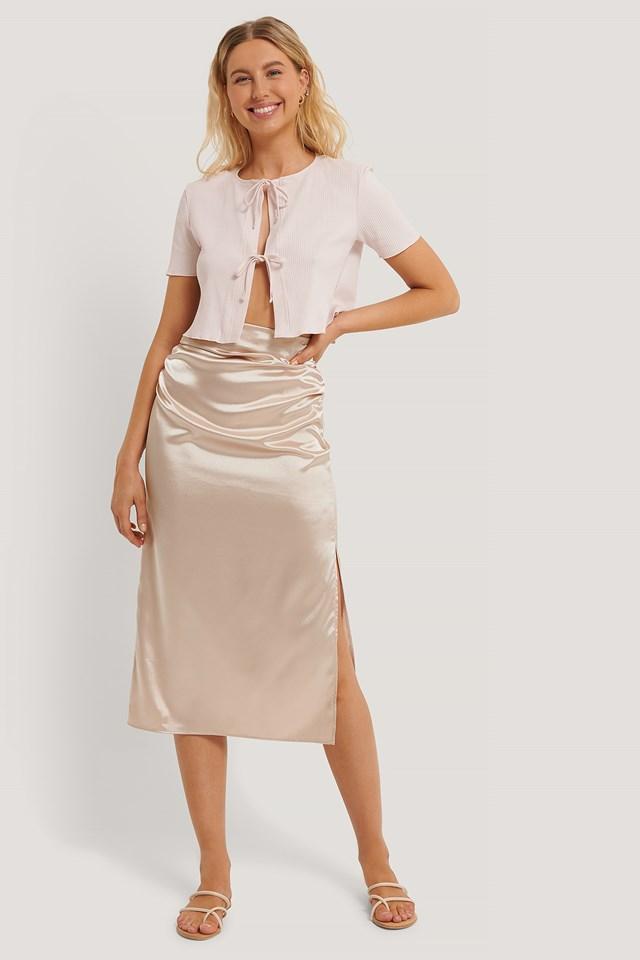 Side Slit Satin Skirt Dusty Lilac