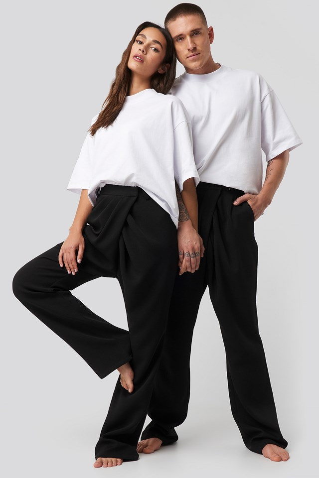 Black Assymmetric Closure Pants