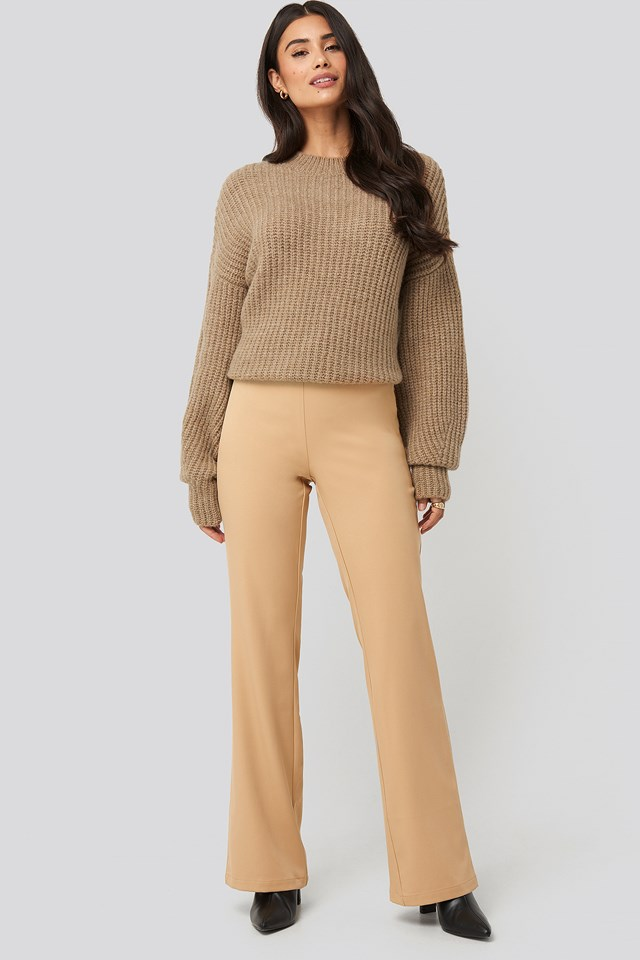 Fitted Bootcut Pants Almond