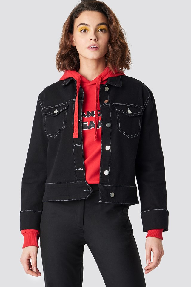 Cuffed Denim Jacket Black