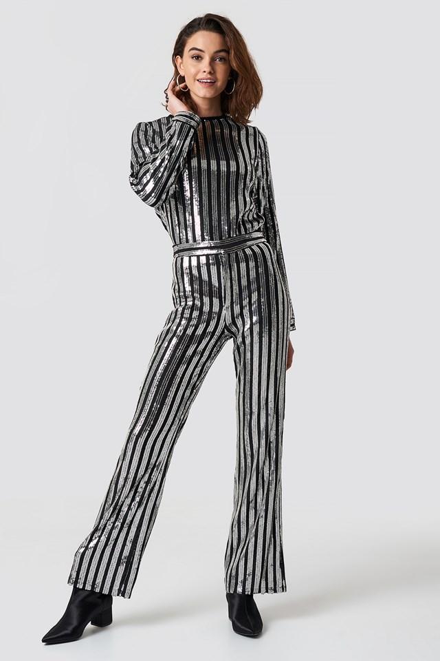 Sequin Pants Black/Silver