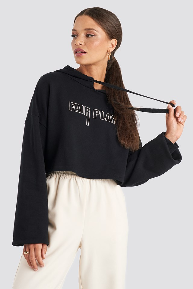 Fair Play Cropped Hoodie Black