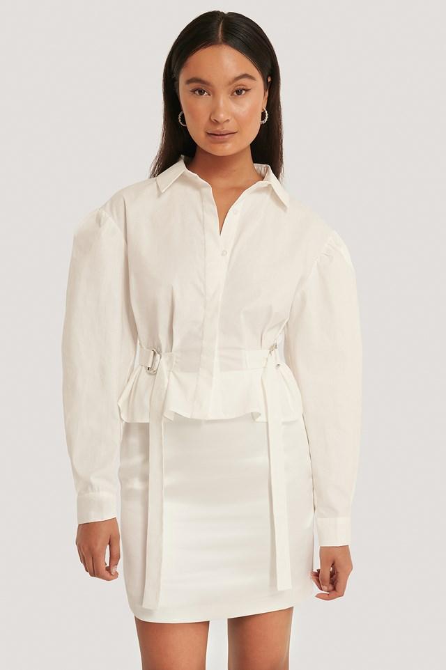 Marked Waist Oversized Shirt White