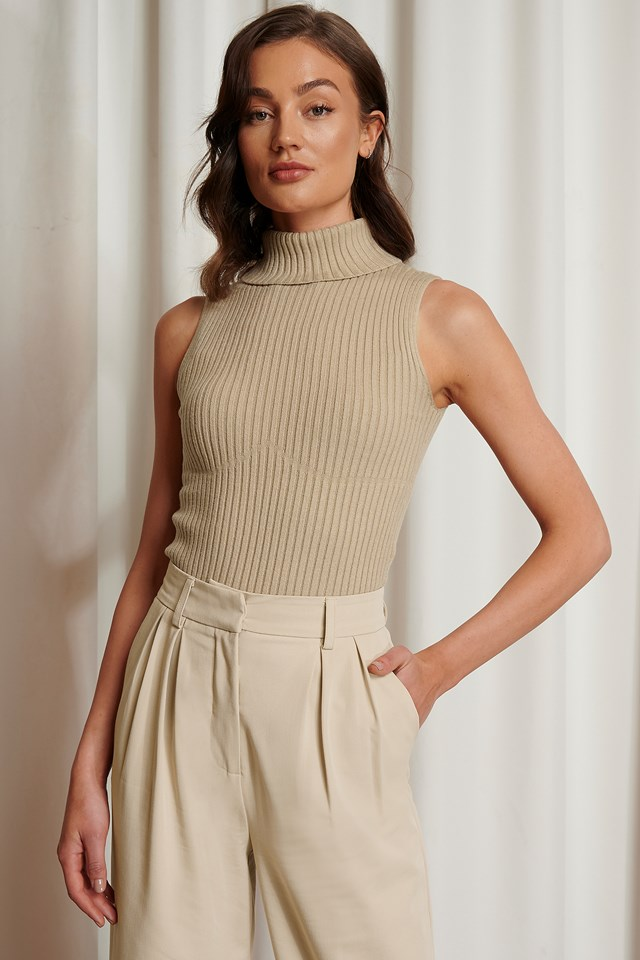 Seam Detail Ribbed Polo Top Beige
