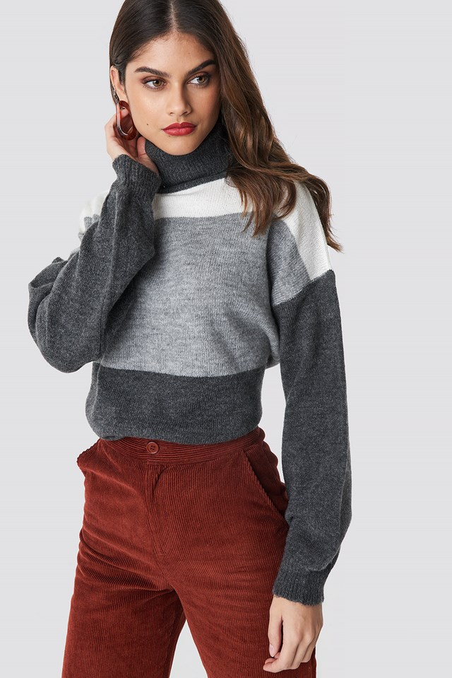 Color Blocked High Neck Knitted Sweater Grey