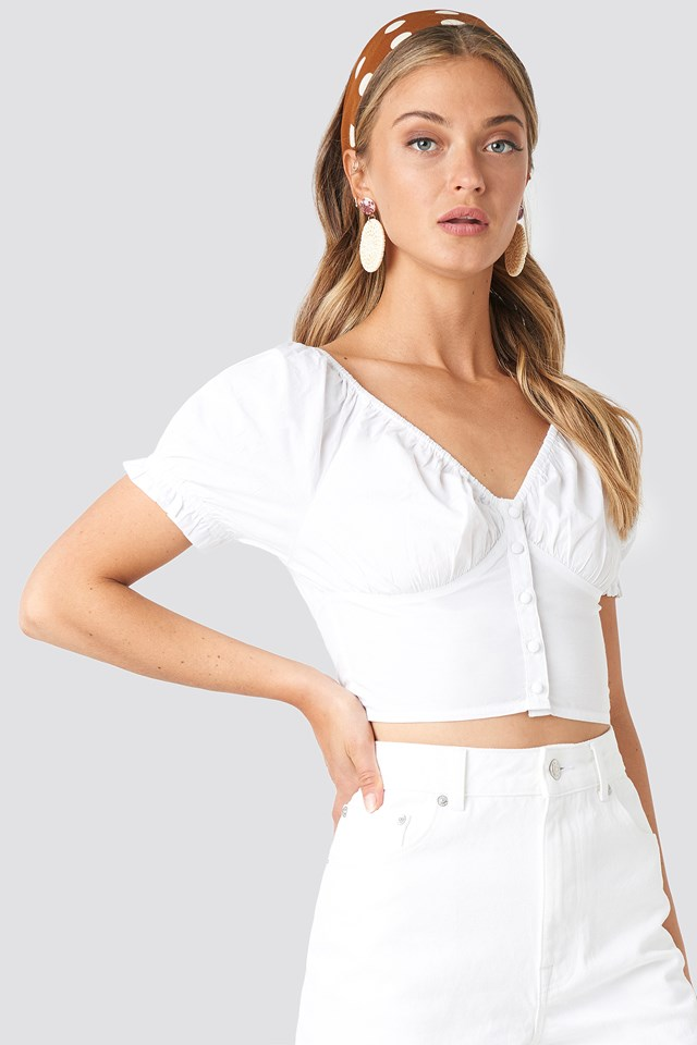 Cropped Fitted Button Top White
