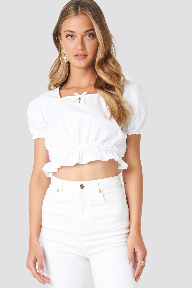 White Cropped Frill Short Sleeve Top