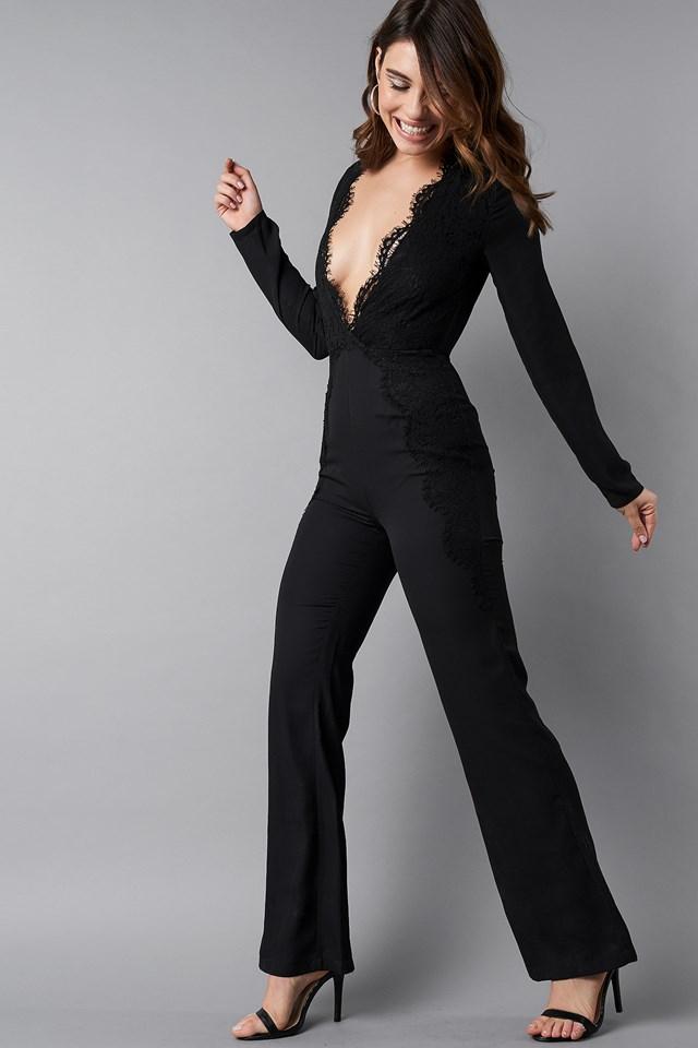 Deep V-Neck Lace Detail Jumpsuit Black