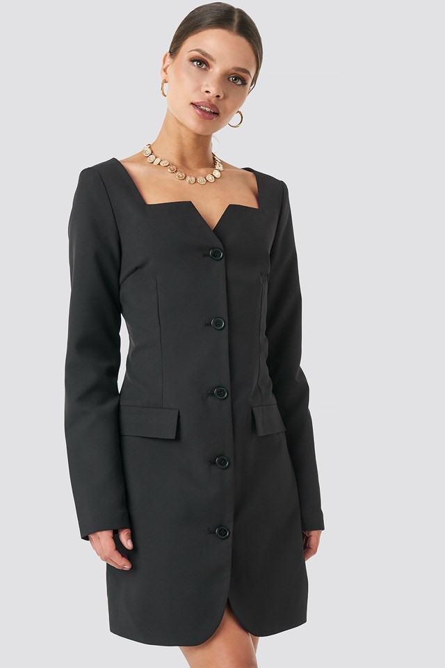 Fitted Blazer Dress Black