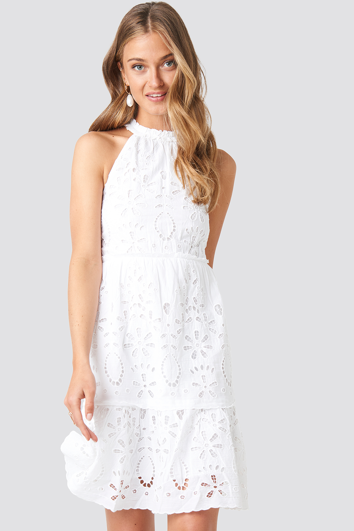 White High Neck Anglaise Dress