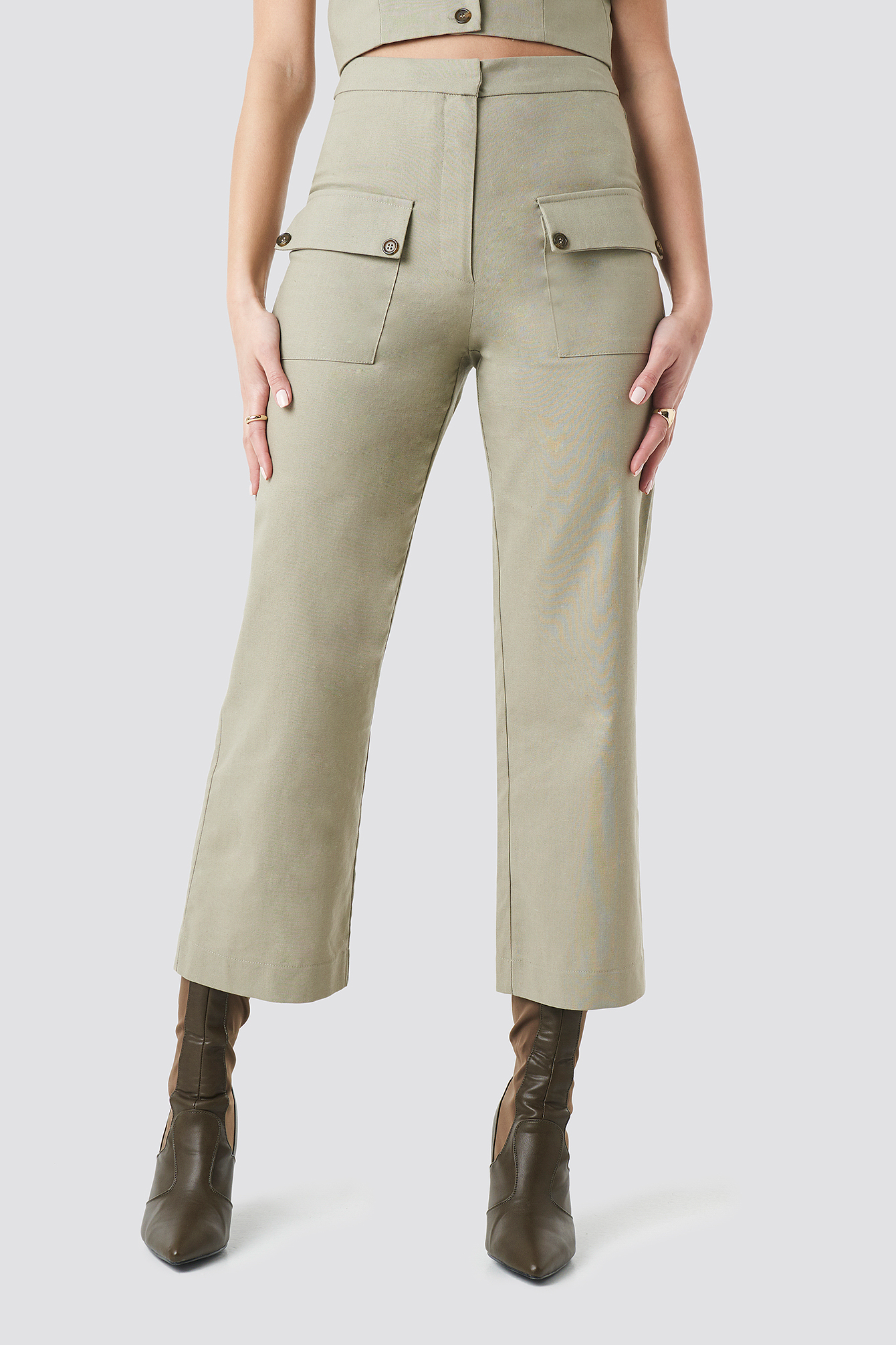 Beige Linen Look Front Pocket Cargo Pants