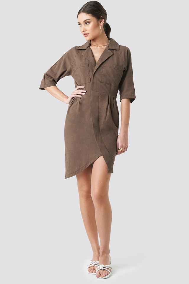 Linen Look Raglan Sleeve Shirt Dress Brown
