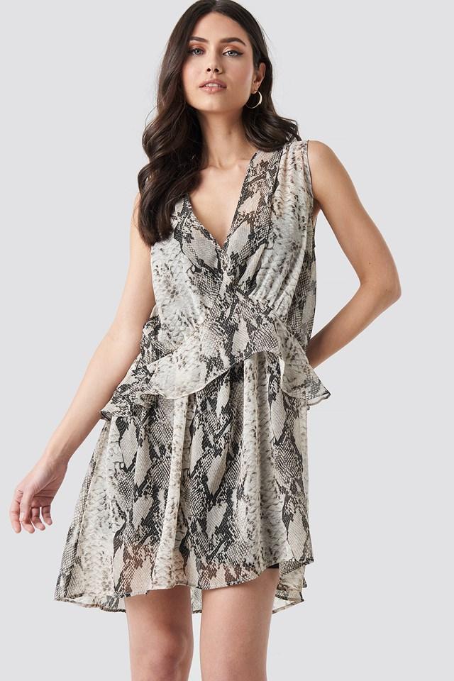 Grey Snake printed Short Chiffon Dress
