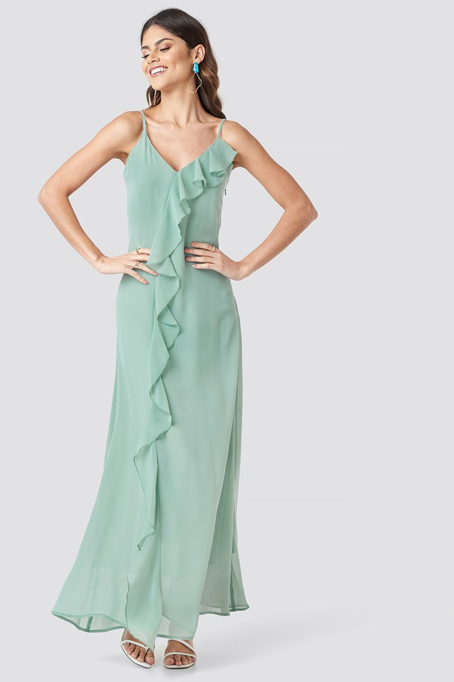 Thin Strap Ruffle Detail Dress Dusty Green