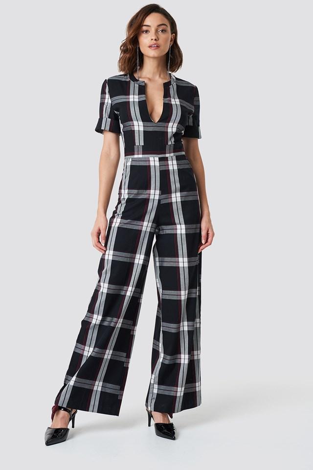 V-Neck Straight Leg Creased Jumpsuit Checkered